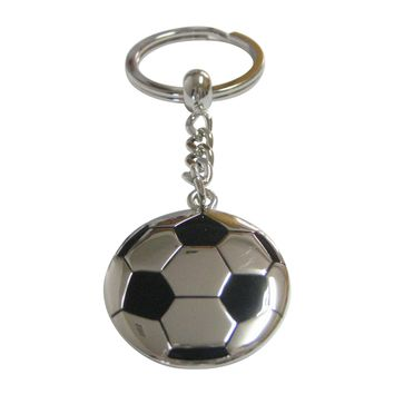 Silver and Black Large Soccer Ball Pendant Keychain