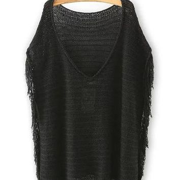 Womens Pullover Sweater - Fringe Side Feature / V-Neck Opening in Back / Semi Sheer