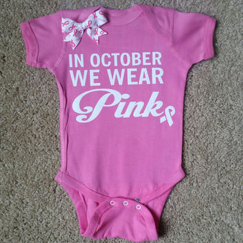 In October We Wear Pink - Girls Onesuit -  Body Suit - Glitter  - Onesuit - Ruffles with Love - Baby Clothing - RWL - On Wednesdays - Mommy's Princess - Diva