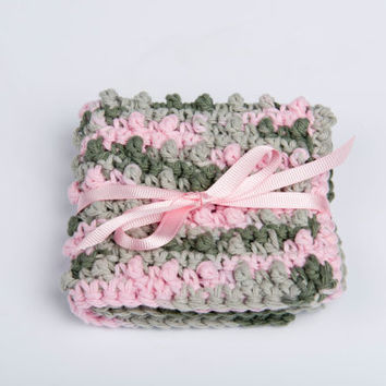 Spa Scrubbie, Washcloth Crochet Cotton- varigated green and pink