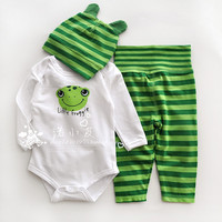 Baby girl / boy frog design striped cotton long-sleeve jumpsuit infant romper + long trousers + hat new born baby clothes