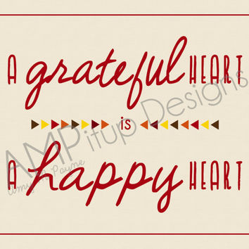A Grateful Heart is a Happy Heart - Thanksgiving Decor - Instant Download - Geometric Triangles - Autumn colors