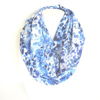 Blue Infinity scarf, Printed scarf, Spring scarf, Summer Infinity Scarf, Watercolor scarf