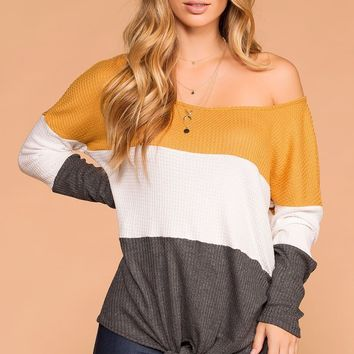Sabrina Mustard and Charcoal Color Block Waffle Knit Tie-Front Top