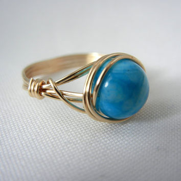 14kt Gold-Filled Wire Wrapped Blue Crazy Agate Ring