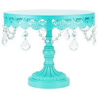 10 Inch Crystal-Draped Round Metal Cake Stand (Teal)