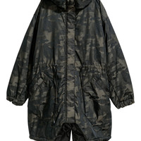 Padded Parka - Dark green/Patterned - Ladies | H&M US