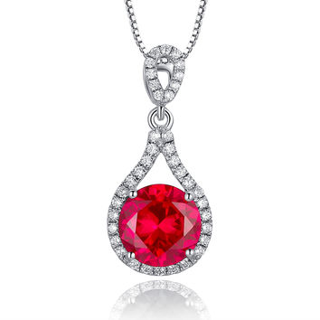 Sterling Silver 2.5ct Round Ruby Pendant Necklace