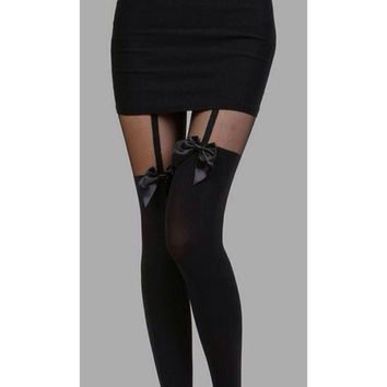 Black Bow Suspender Tights Stockings (Alternative, Pastel Goth, Kawaii)