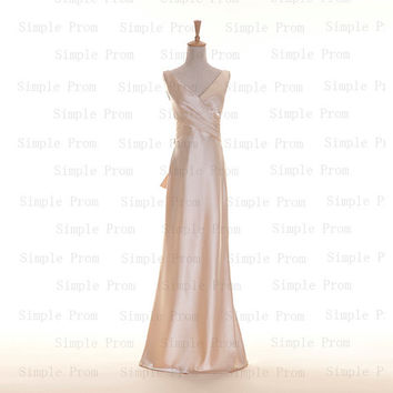 Custom A-line V-neck Floor-length Sleeveless Satin Pleated Long Prom Dress Bridesmaid Dress Formal Evening Dress Party Dress 2013