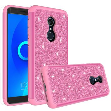 Alcatel Revvl 2 Case, Alcatel 3 Case, Glitter Bling Heavy Duty Shock Proof Hybrid Case with [HD Screen Protector] Dual Layer Protective Phone Case Cover for Alcatel Revvl 2 W/Temper Glass - Hot Pink