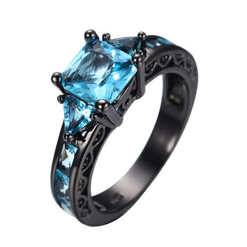 Size 5-11 Classical Jewelry Princess Cut Aquamarine Wedding Ring 10KT Black Gold Filled CZ Women Vintage Engagement Rings RB0071