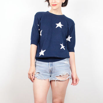 Vintage 80s Sweater Short Sleeve Knit Navy Blue White Star Print Sweater Preppy 1980s Sweater American Flag Sweater USA Pullover S Small M