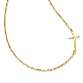 Sterling Silver Yellow Gold-plated Large Sideways Curved Cross Necklace QG3466Y