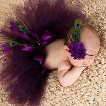 Plum Peacock Feather Tutu Skirt with Vintage Headband