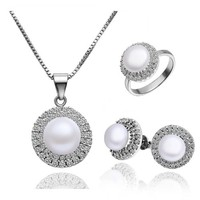 18KGP CZ Pave Hem Cirlce Round Shaped Freshwater Pearls Necklace Ring Earrings Jewelry Set