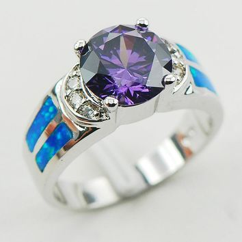 Amethyst Blue Fire Opal 925 Sterling Silver Ring