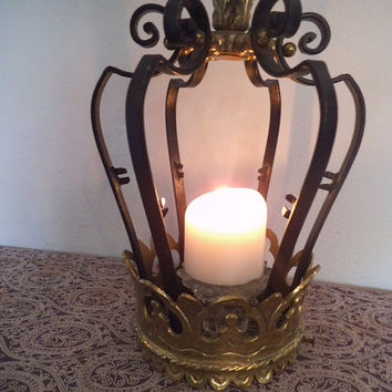 Vintage Wrought Iron and Brass Ornate Crown Light fixture cover ~~ Shabby Chic Candle holder ~ Paris Apartment