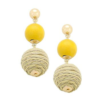 Beatnix Fashions Yellow Wood Thread Ball Earrings