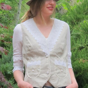 Linen n Lace Vest, Poets Waistcoat, Boho Chic Clothing, English Lace Clothes, Shabby Vest, Rustic Lagen Tops, Country Cowgirl Top Medium