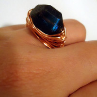Labradorite copper ring - size 7 - wrapped ring - natural stone ring - cocktail ring - chunky ring -  blue gemstone ring - thick ring