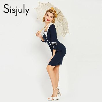 Sisjuly women luxury bodycon dress vintage nautical style patchwork button bodycon dresses navy blue pencil bodycon dresses new