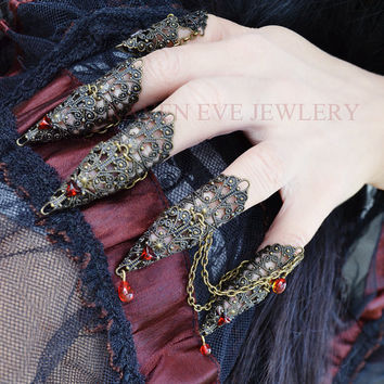 Vampire Queen Fierce Brass Filigree Jeweled by ravenevejewelry