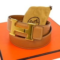 Auth HERMES Vintage H Logos Buckle Constance Reversible Belt Leather F02124