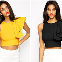 Summer Women's Fashion Round-neck One Shoulder Irregular Vest T-shirts [6339079745]