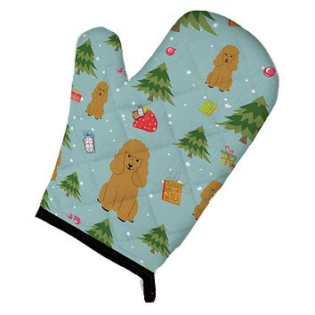 Christmas Poodle Tan Oven Mitt BB4729OVMT