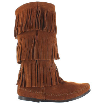 Minnetonka Triple Fringe - Brown Suede Boot