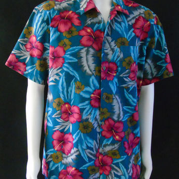 Mens Vintage 80s HAWAII BLUES Aloha Hawaiian Shirt Sz L Teal Blue Floral