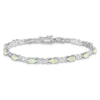 "Sterling Silver White Created Opal And CZ 7"" Bracelet"