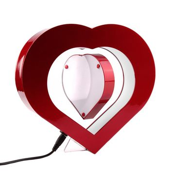 LED Light Red Heart Shaped Magnetic Levitation Pictures Frame Wedding Decoration Novelty Gift