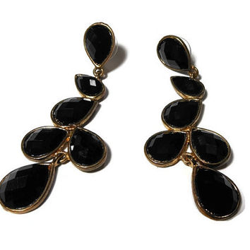 Black lucite earrings, faceted and bezel set, dangle teardrop pierced designer earrings, lucite or acrylic.