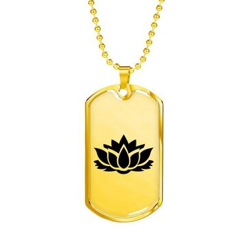 Lotus Flower - 18k Gold Finished Luxury Dog Tag Necklace