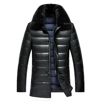 Winter men's lapel PU leather thick fur mink collar PU leather down jacket men in the long paragraph