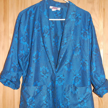 Vintage 80s Betsys Things Oversize Boxy Boyfriend Blue Floral One Button Blazer Jacket Size 11/12