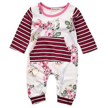 Spring Autumn Newborn Toddler Kids Baby Girl Floral Clothes Long Sleeve Romper Jumpsuit One-piece