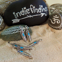 10 Feather charms, turquoise feather tribal charm ~ F324