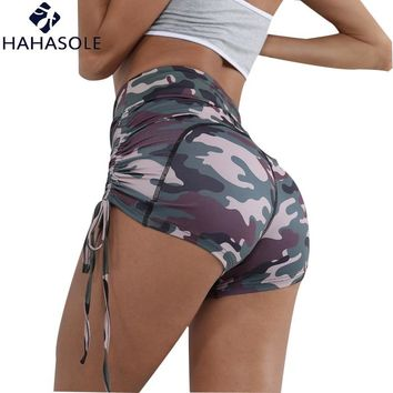 HAHASOLE Sports Shorts Women's Sportswear High Waist Hip Tight Cam Clothes Gym Fitness Clothing Yoga Shorts Women HWA2048-40