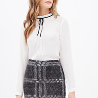 LOVE 21 Fuzzy Plaid Skirt Black/Ivory