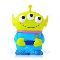 Cute 3D Blue 3 Eyes Alien Toy Story Movable Eye Case Cover for Apple iPhone 4 4S