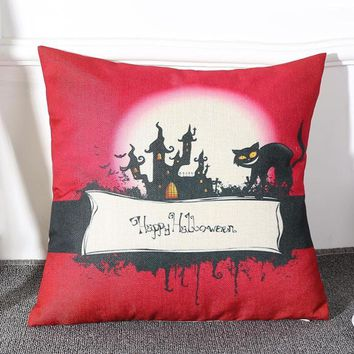 Halloween Square Pillow Cover Cushion Case  Pillowcase Zipper Closure