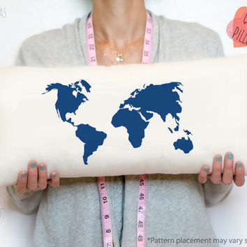 World map decorative fashion pillow - Navy blue accent pillow- decorative throw pillow - home accents