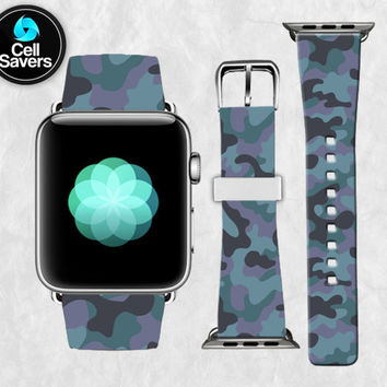 Blue Camo Pattern Snow Camouflage Winter Camoflage Apple Watch Band Leather Strap iWatch for 42mm and 38mm Size Metal Clasp Watch Print
