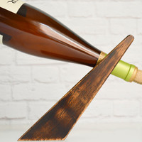 Bullet 21, an espresso mahogany wood gravity wine bottle holder, recycled wood wine display,