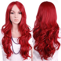 "28"" Dark Red Full Hair Wig Kanekalon for Women Long Curly Wavy Natural Cosplay Daily Party Dress Wigs"
