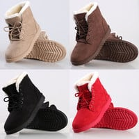 Women's Flat Lace Up Fur Lined Winter Boots Snow Ankle Boots Shoes