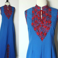 Vintage Floral Embroidered Maxi Dress Will Hem by BoWinston